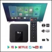 Top TX BOX 4k TX9 COM BLUETOOTH 4G RAM 32G ROM ANDROID 9 APARELHO TRANSFORME SUA TV EM SMART TV