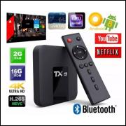 Top TX BOX 4k TX9 COM BLUETOOTH 2G RAM 16G ROM ANDROID 8.1 ALICE UX